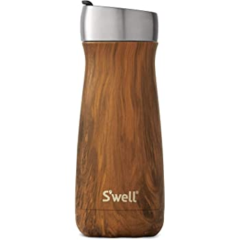 S'well Stainless Steel Commuter Triple-Layered Vacuum-Insulated Containers Keeps Drinks Cold for 24 Hours and Hot for 6 - with No Condensation - BPA Free Water Bottle, 16oz, Teakwood