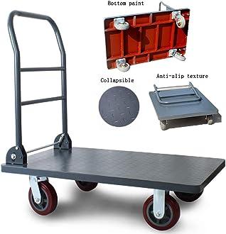 Color : Black, Size : 724590cm Trolley Platform Trolley Warehouse Trolley Steel Foldable Industrial Transport Dolly Loading 300kg