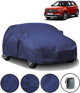 Fabtec Waterproof Car Body Cover for Hyundai Venue with Mirror Pocket & Storage Bag Combo (Full Sized, Triple Stitched, Fully Elastic) (Navy Blue)