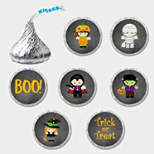 216 Halloween Themed Chocolate Kiss Stickers - Halloween Candy Stickers - Fits Perfectly on Hershey's Kisses