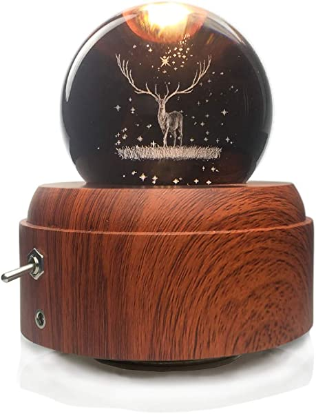 ShareMoon Music Box With 3D Deer Crystal Ball Luminous Rotating Musical Box With Projection LED Light And Wood Base For Birthday Gift And Decoration Red