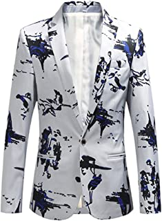 Mens Slim Fit Printed Blazer Jacket One Button Suit Coat