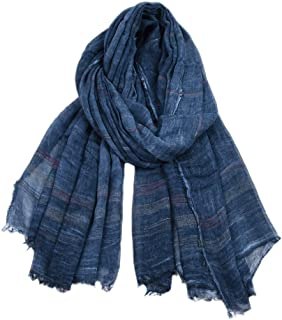 Male/Female New Yarn-Dyed Striped Scarf Winter Solid-Colored Cotton and Linen Scarf Suitable for Both Men and Women,Navy
