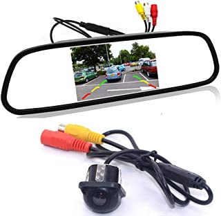 GOFORJUMP Cámara de Respaldo para el automóvil con Sistema de cámara de estacionamiento de la cámara de estacionamiento de cámara de Marcha atrás del Monitor retrovisor TFT LCD de 4.3