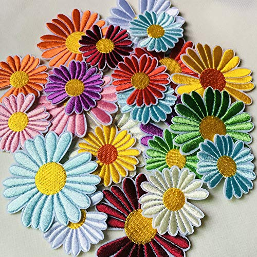 25pcs Colorful Daisy Flowers Embroidered Sew On Applique Floral Lace Patch Milk Fiber Sewing Trims Clothes Wedding Dress Craft DIY (Color G)