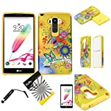 for LG G Stylo LS770 / LG Stylus H631 (TM) 3items Combo: Screen Protector + Stylus Pen + Dual Layer Impact Resistance Hybrid Armor Case (Yellow Butterfly Flower) -  Snaponcase