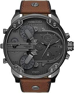 Diesel 迪塞 男士计时石英手表皮革表带 DZ7413