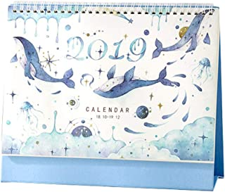 Small Fresh 2018-2019 Office/Home Calendar Desk Standing Calendario-Ballena