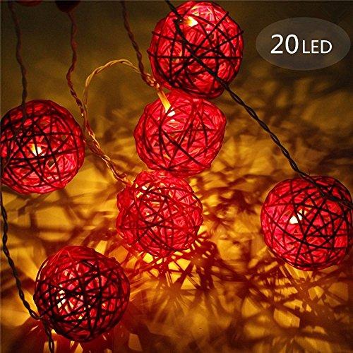 Guirlande Lumineuse Boule, Morbuy Batterie Lumineuse Boules 20 Led boules Longueur 2 Mètres Alimenté par Batterie Ficelle Lumière Décoration Pour La Saint Valentin Noël Fêtes (Rouge)