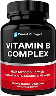 Vitamin B Complex Vitamins B12, B1, B2, B3, B5, B6, B7, B9, Folic Acid - Super B Complex Vitamins for Women, Men, Adults –...