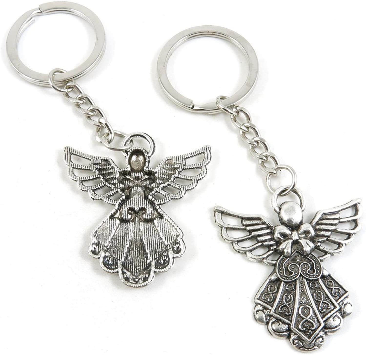 100 Pieces Keychain Keyring Door Car Key Chain Ring Tag Charms Bulk Supply Jewelry Making Clasp Findings W6UM5U Fairy Angel