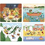 Vilac- 4 Puzzles évolutifs Les Vacances, 2634, Multicolore