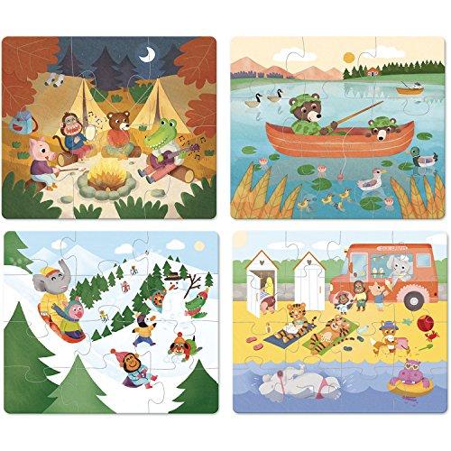 Vilac- 4 puzles evolutivos para Las Vacaciones, Multicolor (
