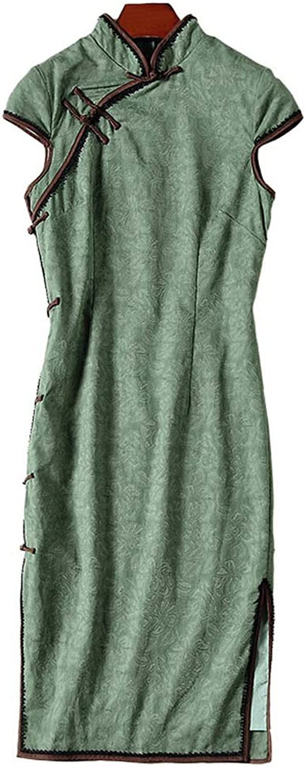 OYCP Retro Party Dresses Cheongsam Short Sleeve Jacquard Green Midi Dresses for Women