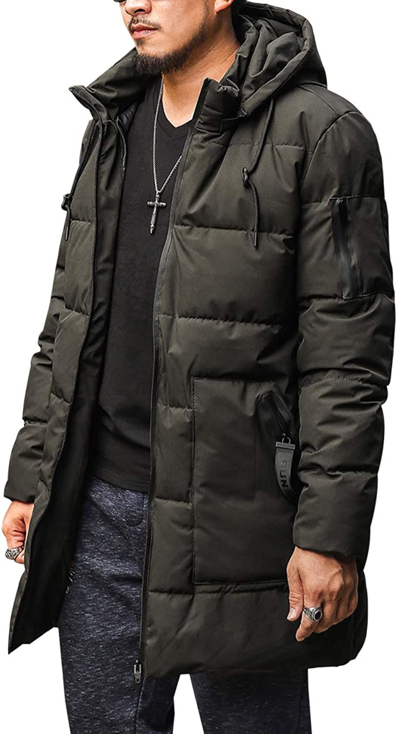 Gihuo Men's Padded Puffer Coat Zip Up Hooded Long Parka