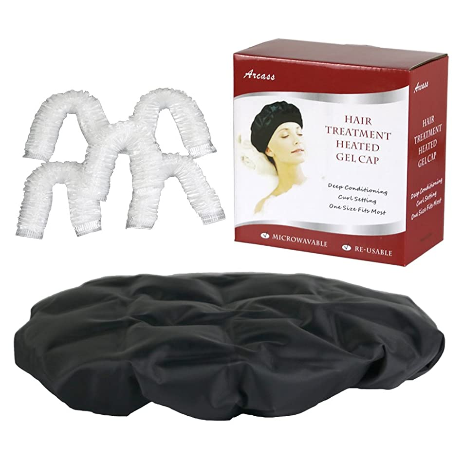 Cordless Heat Cap for Deep Conditioning,Microwaveable and Re-usable Hair Styling and Treatment Heat Therapy Steam Gel Cap with Processing Caps (Black)