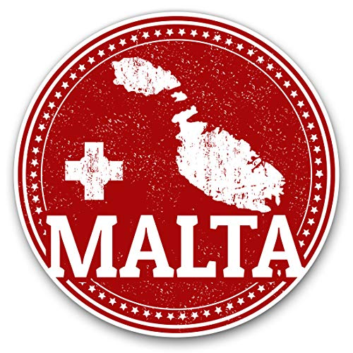Awesome Vinyl Stickers (Set of 2) 15cm - Malta Maltese Flag Map Travel Fun Decals for Laptops,Tablets,Luggage,Scrap Booking,Fridges,Cool Gift #4285