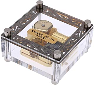 Youtang Clear Acrylic 18-Note Wind-up Musical Box,Musical Toys,Play Jinsei no Merry Go Round(Gold Movement)
