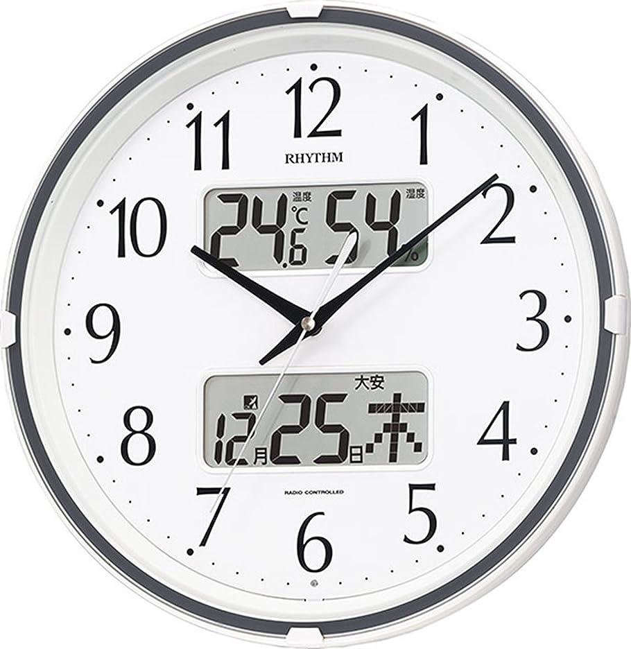 答えピアニストドナウ川掛け時計 電波時計 温度計?湿度計付き フィットウェーブリブ 白 リズム時計 4FYA07SR03