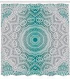 JYEJYRTEJ Grauer & Cyan Mandala Streifen Dekorativer Duschvorhang kann gewaschen & getrocknet Werden,10Haken,120X180cm,geeignet für Badezimmer