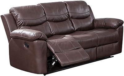 Amazon.com: Case Andrea MilanoTM Bonded Leather Double Recliner Sofa ...