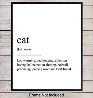 Cat Definition Wall Art, Home Decor - Funny Poster, Print - Unique Room Decorations for Bedroom, Living Room, Veterinarian, Vet Office - Gift for Kitty, Feline, Kitten Lovers, 8x10 Photo