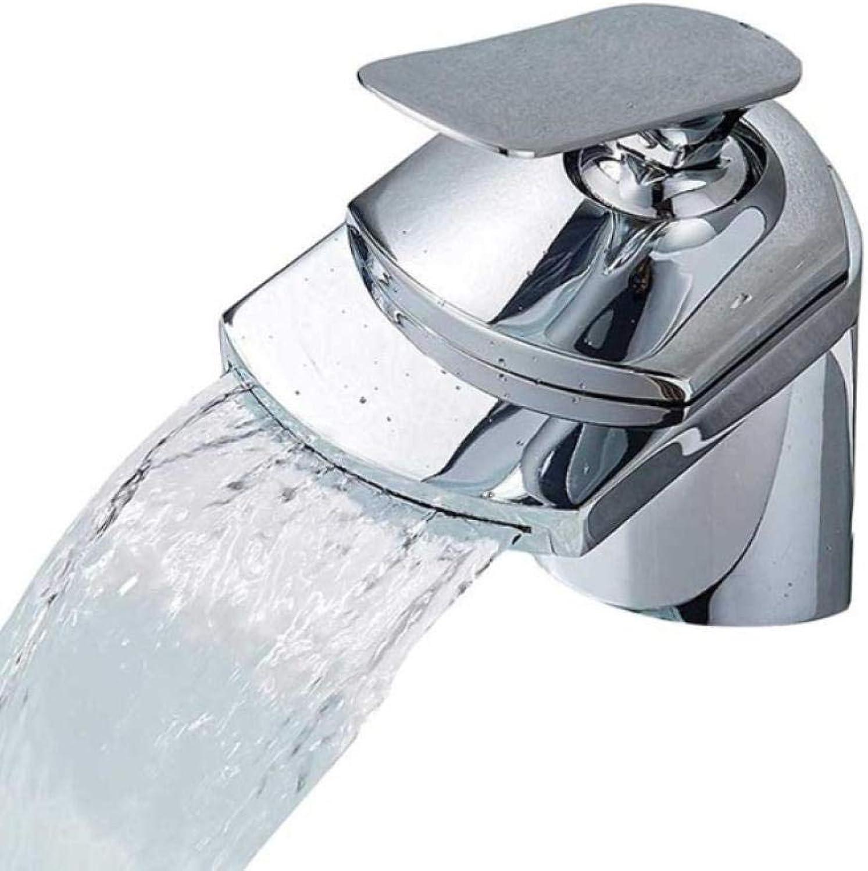Lddpl Wasserhahn Goldene Wasserfall Auslauf Becken Waschbecken Wasserhahn Deck Montieren Golgen Messing Hot Cold Mischbatterie für Bad Chrom Vanity Sink Tap