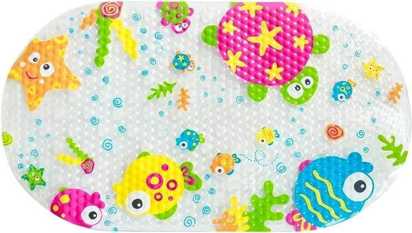 Sookg 27 X 15 Inch Baby Bath Mat PVC Non Slip Kid Bathtub Mat Suction Cup Cartoon Printed Bath Mat OceanWorld