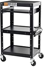 """Pearington AV and Presentation Cart Stand for Video Projector, TV, Laptop Computers, Printers-Metal Construction Rolling Storage Cart with Adjustable Shelves and 4 wheels;4 outlets and 12"""" cord, Black"""