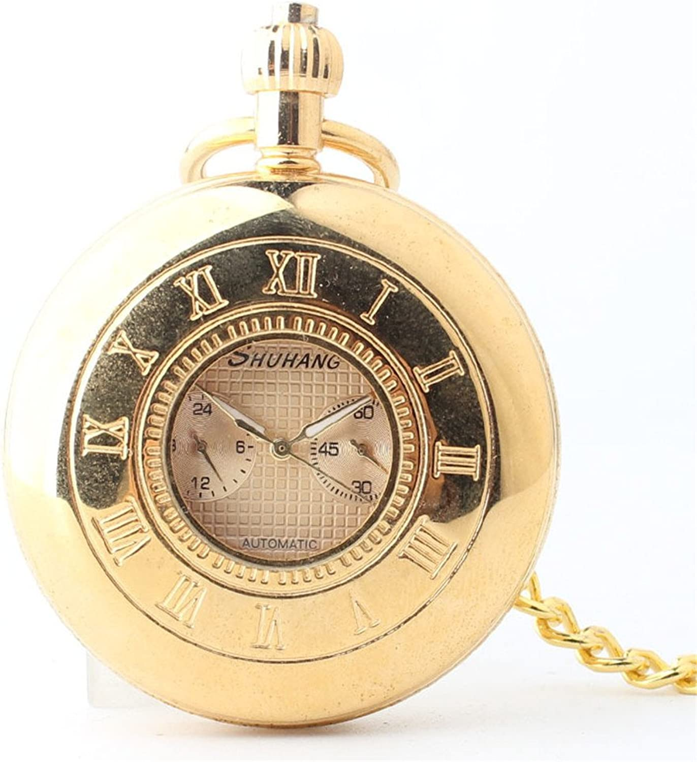 Pocket Watch golden Student's Roman Numerals Mechanical Pocket Watch with Chain for Unisex