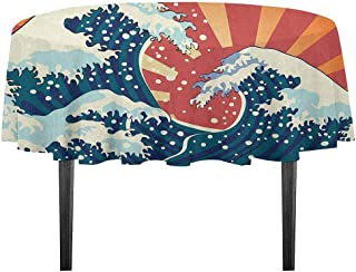 kangkaishi Japanese Wave Washable Tablecloth Japanese Painting Style Summer Seasonal Backdrop Surf Water Abstract Sunset Desktop Protection pad D55.11 Inch Multicolor