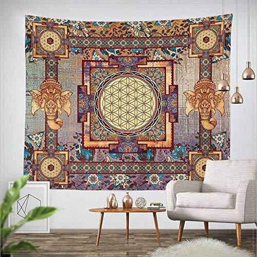 Tapiz de pared Tapiz clásico de de elefante para colgar en la pared, flores s, tapiz decorativo de pared para el hogar, colcha, funda para sofá 150x130cm/59*51inch