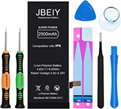2500mAh Battery Compatible with iPhone 6, JBEIY Super High Capacity Replacement Battery New 0 Cycle, with Complete Replacement Tool Kits and Instructions -1 Year Warranty