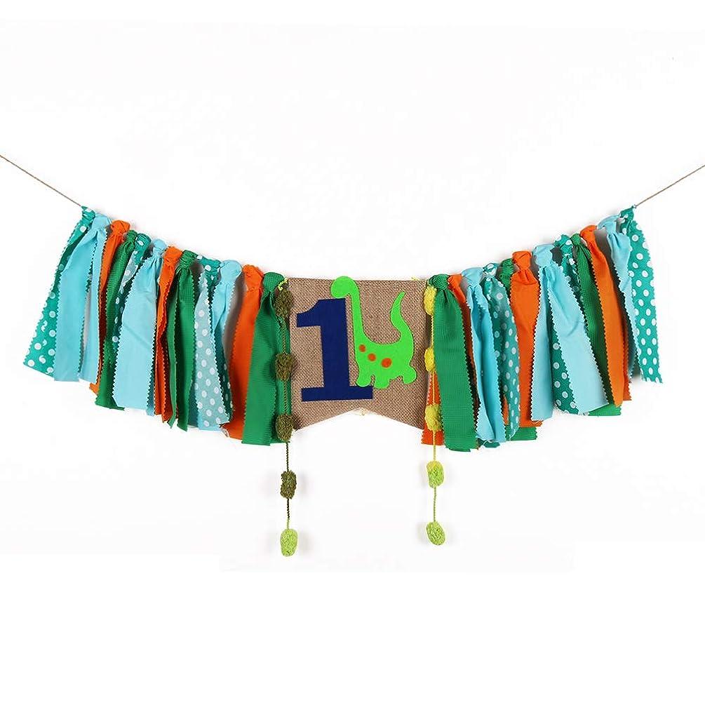 palasasa Dinosaur Series Green One Banner -Handmade First Birthday Decorations Burlap Highchair Banner for 1st Birthday Baby boy