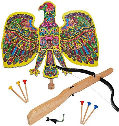alles-meine.de GmbH Set : Vogelschießen - Bogenschießen - Vogel Adler bunt - 49 cm * 46 cm + Armbrust & Pfeile