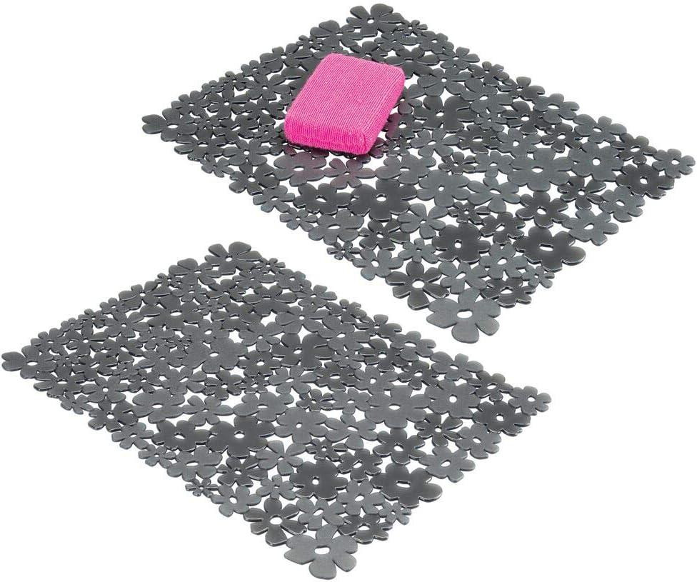 mDesign Juego de 2 tapetes de PVC recortables para fregadero – Protector de fregadero de cocina grande – Base para fregadero para proteger la vajilla y la pila con diseño de flores – gris pizarra