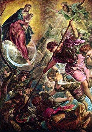 Das Museum Outlet–Schlacht der Erzengel Michael mit Satan von Tintoretto, gespannte Leinwand Galerie verpackt. 96,5x 121,9cm