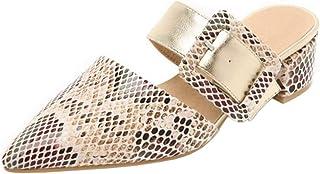 Zanpa Women Fashion Mules Block Heels Slide Sandals Pointed Toe