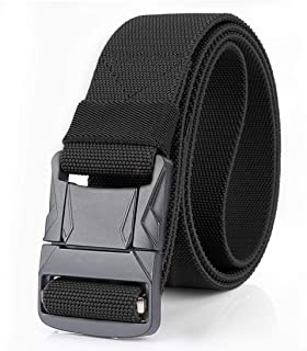 WYuZe Tactical Belt with Heavy Duty Metal Buckle, Quick-Release Military Nylon Stretch EDC Rigger Belt for Men