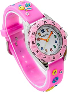Girls Watch Easy Reader Quartz Analog 3D Cartoon Waterproof Watch for Girls Kids Gifts PC Movement Silicone Band boy Watches (Pink Bee)