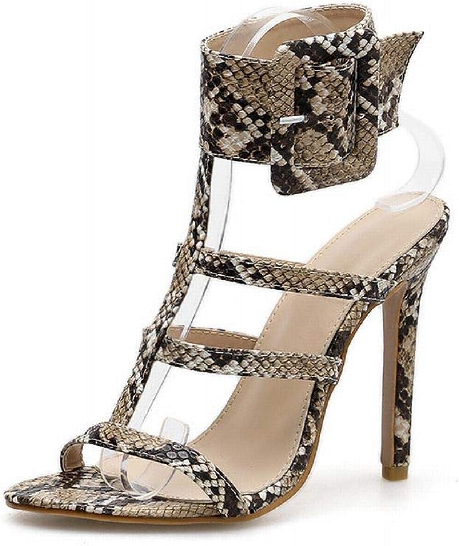 Sugoishop Women's Geblackus Buckle High Heel Sandals Summer Fish Mouth Snake Pattern Sexy Stiletto Super High Heels