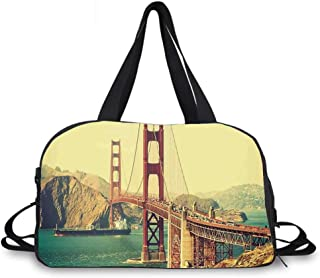 Vintage Personality Travel Bag,Old Film Featured Golden Gate Bridge Suspension Urban Path Construction Scenery for Travel Airport,One_Size