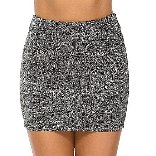 N\P Negro Plata Cintura Elástica Super Mini Falda Sexy Mujeres Cintura Alta Falda Corta Falda Lápiz Faldas