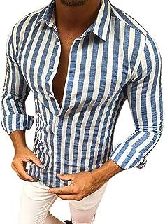 Camisa para Hombre Slim Manga Fit Larga Blanco Botones Tamaños Cómodos A Rayas Azules Cuello En V Solapa Moda Ocio Camiset...