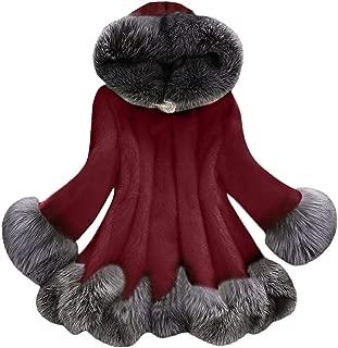 iHHAPY Women's Winter Hooded Jacket Faux Fur Coat Thick Cardigan Winter Coat Solid Color Parka Winter Jacket Super Soft