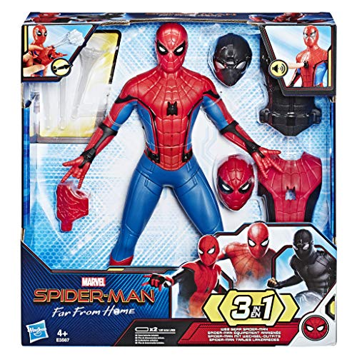 Spider-Man: Far From Home - Spider-Man 3-in-1 con Vestiti Intercambiabili ed Accessori, Action Figure da 33 cm