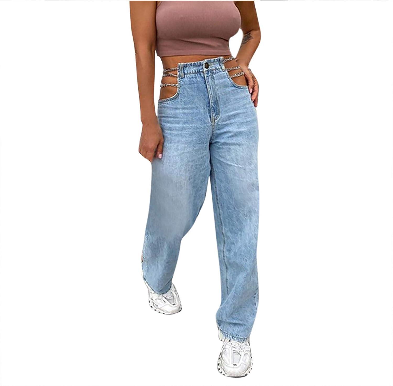 Women Ripped Jeans High Waist Wide Leg Denim Pants Classic Straight Y2K Jeans Pants Baggy Patchwork Streetwear