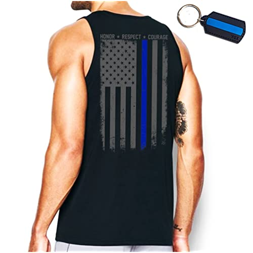 Thin Blue Line Flag Leo Police Support Front & Back Men's Tank Top & Keychain Gift