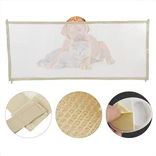Asixx Barrera de Seguridad Plegable Portátil para Perro, Barrera de Seguridad, Puerta de Malla Interior para Perro,Bebé(Beige)