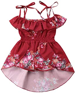 9abb1a060644 Baby Girls  Ruffles Romper Outfits Floral Clothes Halter One-Pieces Shorts  Jumpsuit Sunsuit Dress